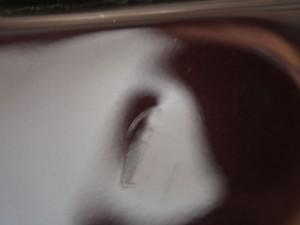 WISHバックドア デントリペア前の傷