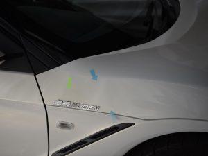 S660 右フロントフェンダーのわずかな違和感を デントリペア
