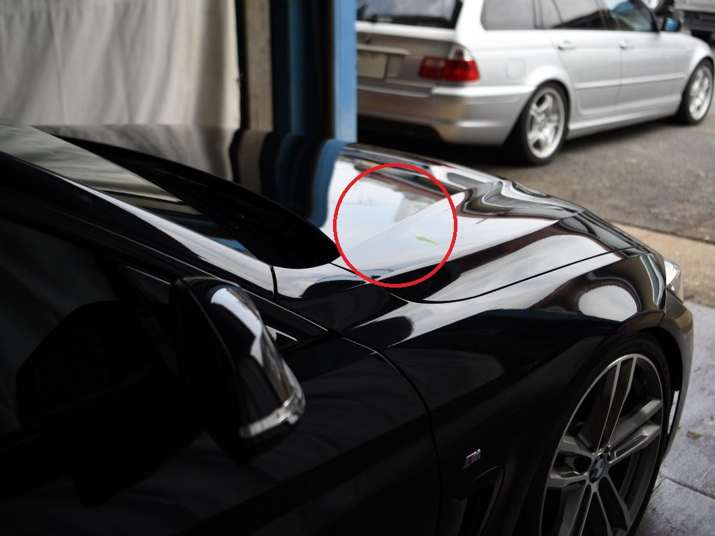 BMW420i ボンネットのデントリペア